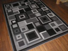 New Modern Rug 190x280cm Woven Backed Black Grey Great Quality Block Design home